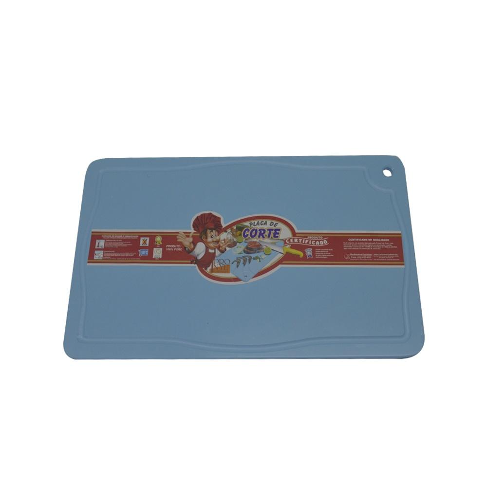 Placa de Corte Azul com Canaleta em Polietileno 1,5X25X37 cm Pronyl 128