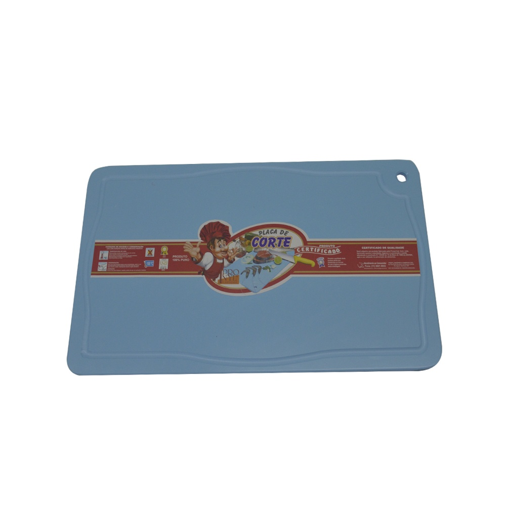 Placa de Corte Azul com Canaleta em Polietileno 1,5X30X50 cm Pronyl 122