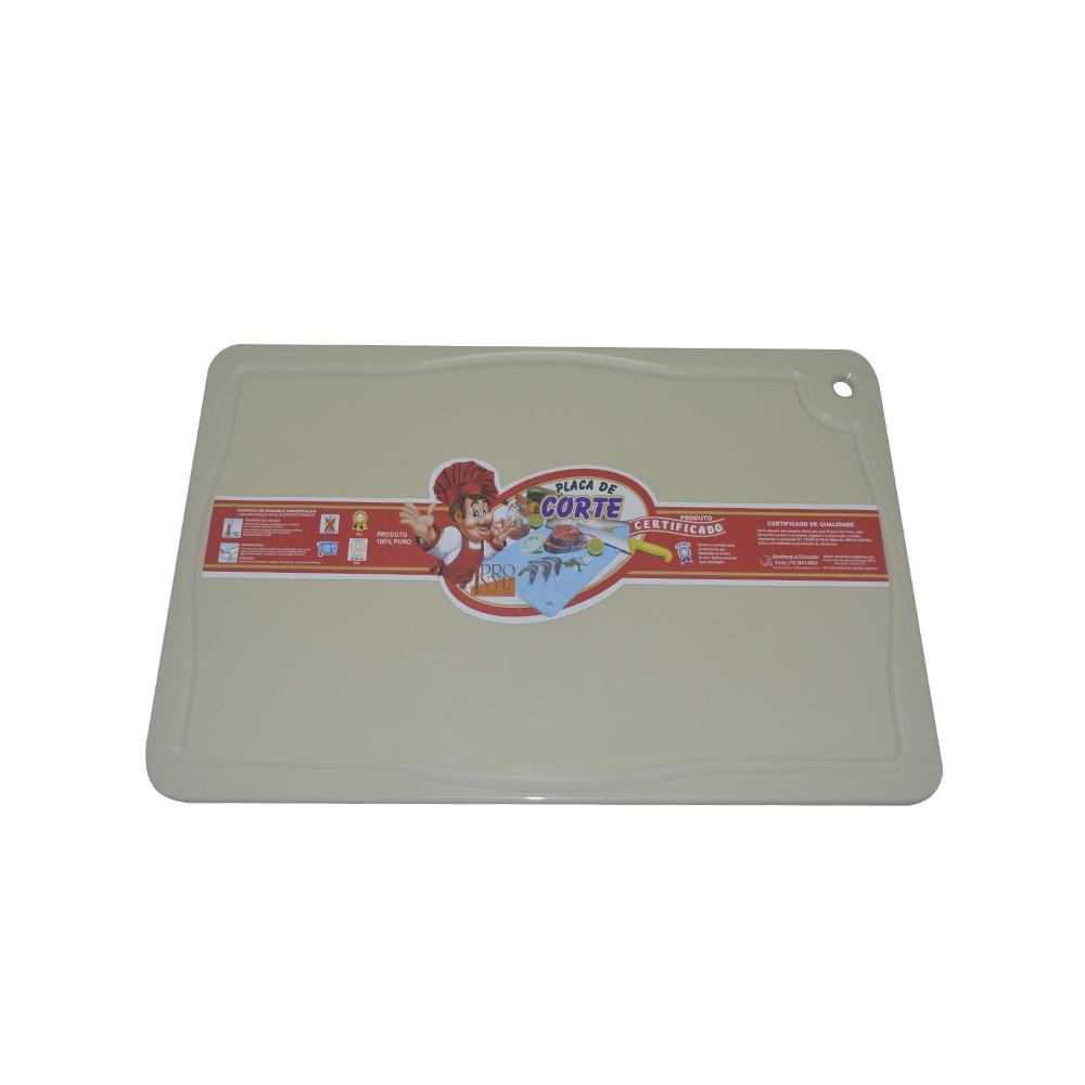 Placa de Corte Bege com Canaleta em Polietileno 1,5X25X37 cm Pronyl