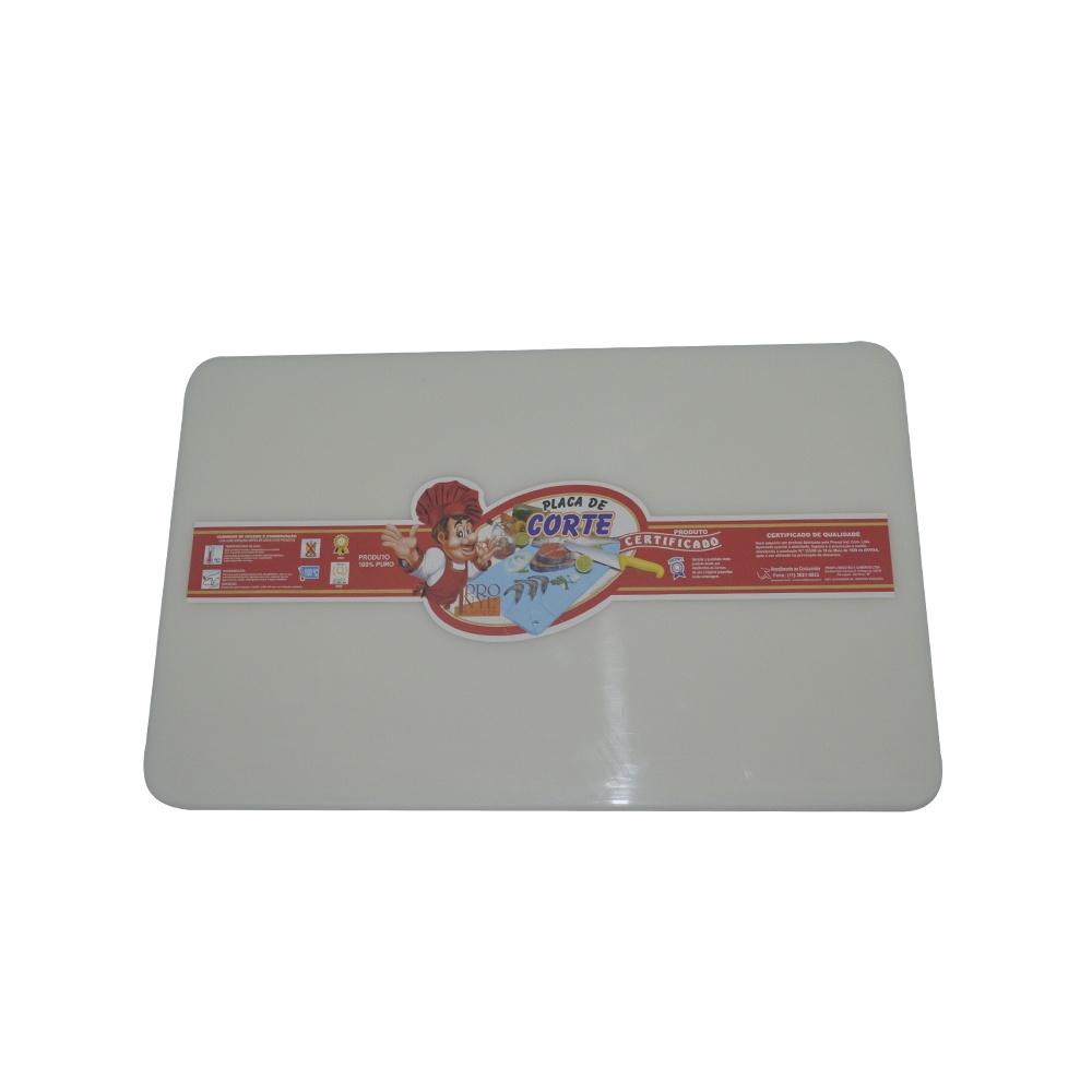 Placa de Corte Branca com Canaleta em Polietileno 1,5X30X50 cm Pronyl 125