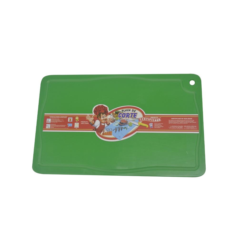 Placa de Corte Verde com Canaleta em Polietileno 1X25X37 cm Pronyl 162