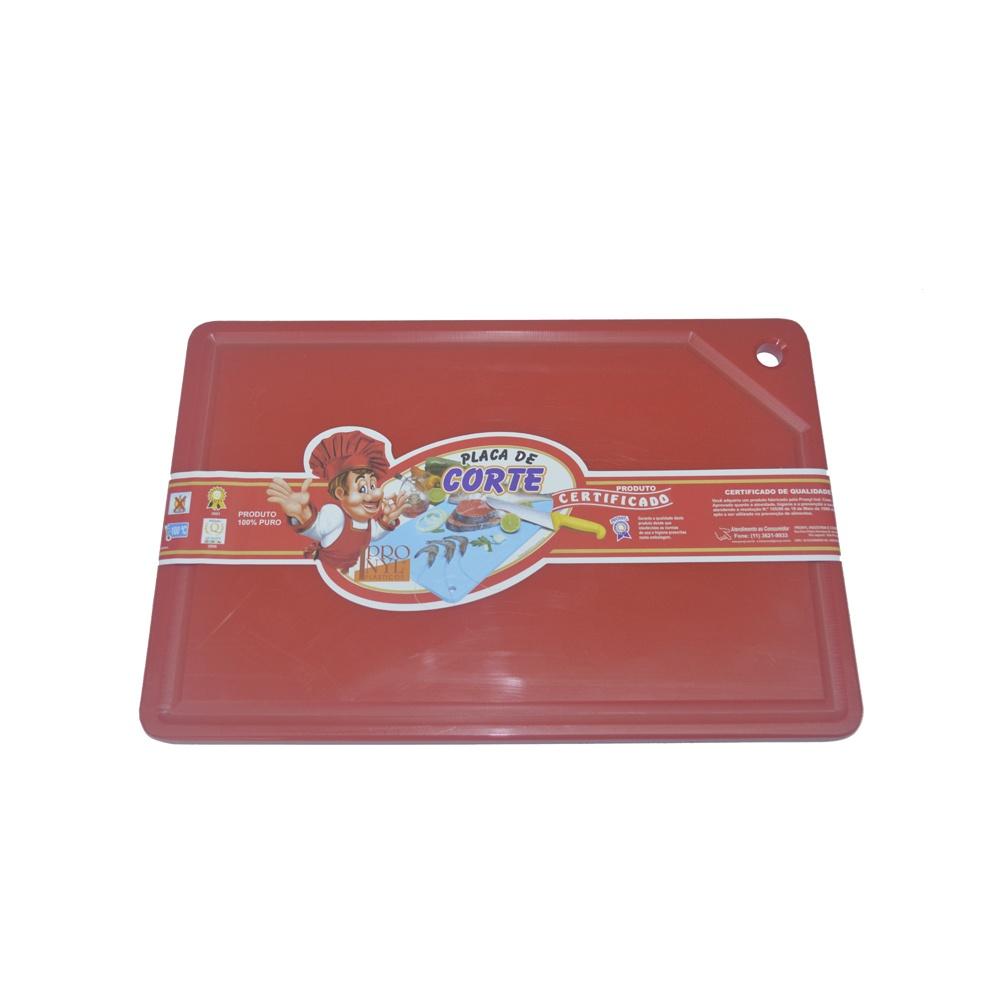Placa de Corte Vermelha com Canaleta em Polietileno 1,5X25X37 cm Pronyl 126