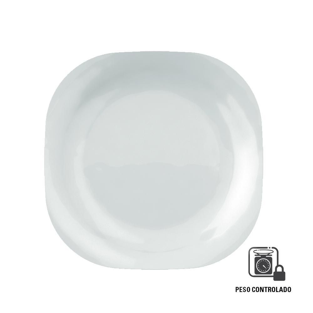 Prato Quadrado Raso Plaza Duralex Peso Controlado 27 cm Branco Nadir Figueiredo 5546