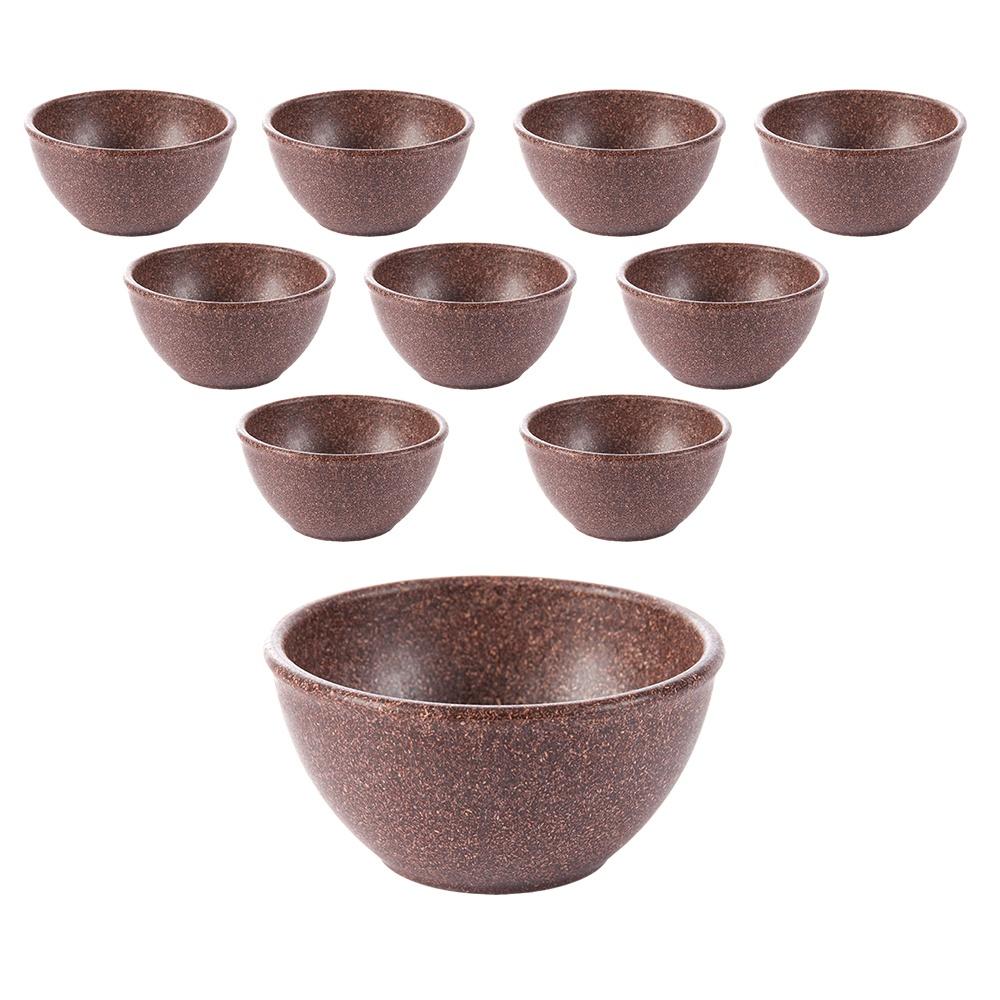 Tigela Cumbuca Bowl 300 ml Imbuia WPC Produto Sustentável Kit 10 Unidades - Evo