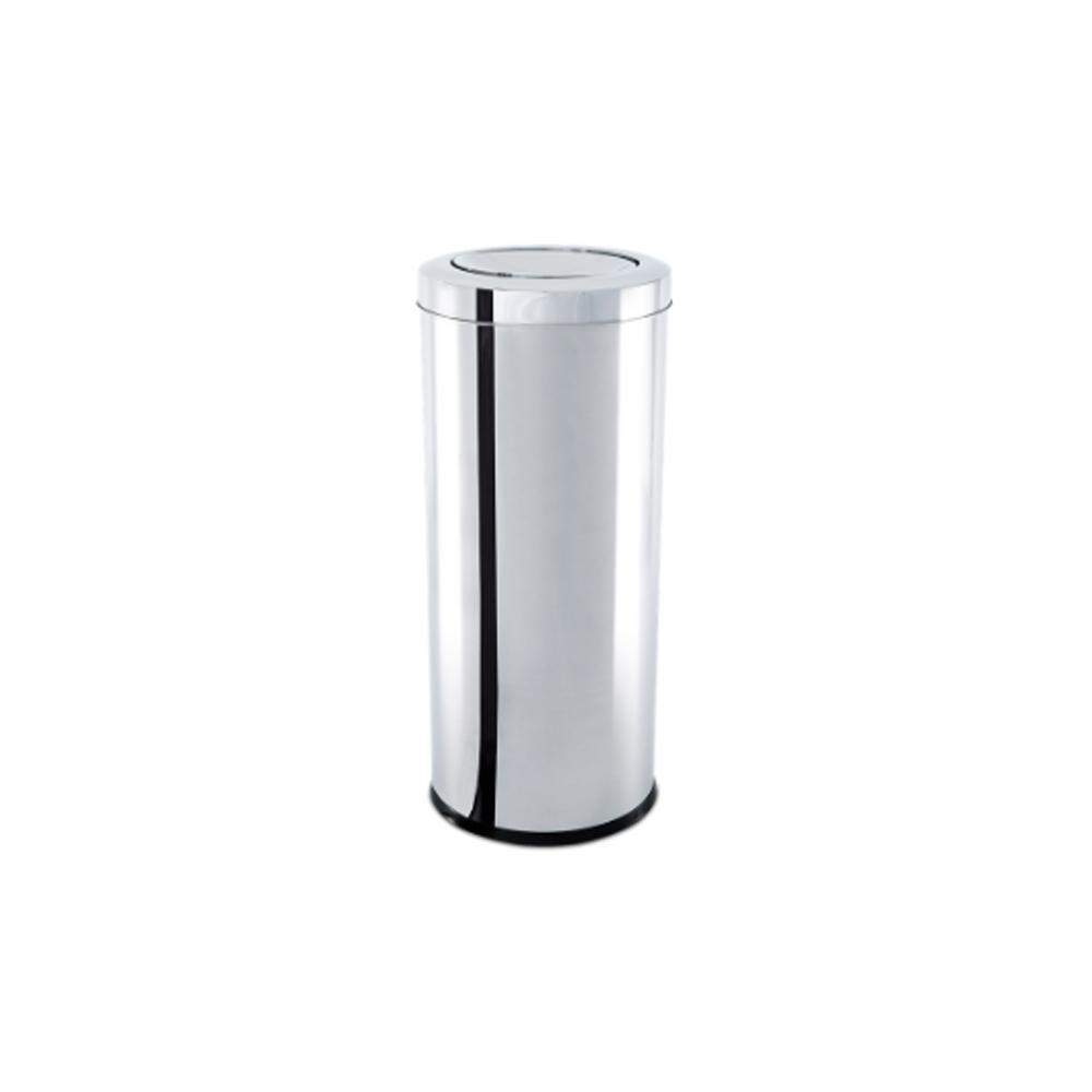 Lixeira Inox com Tampa Basculante 28,17 Litros - Decorline Lixeiras Ø 25 x 60 cm - Brinox