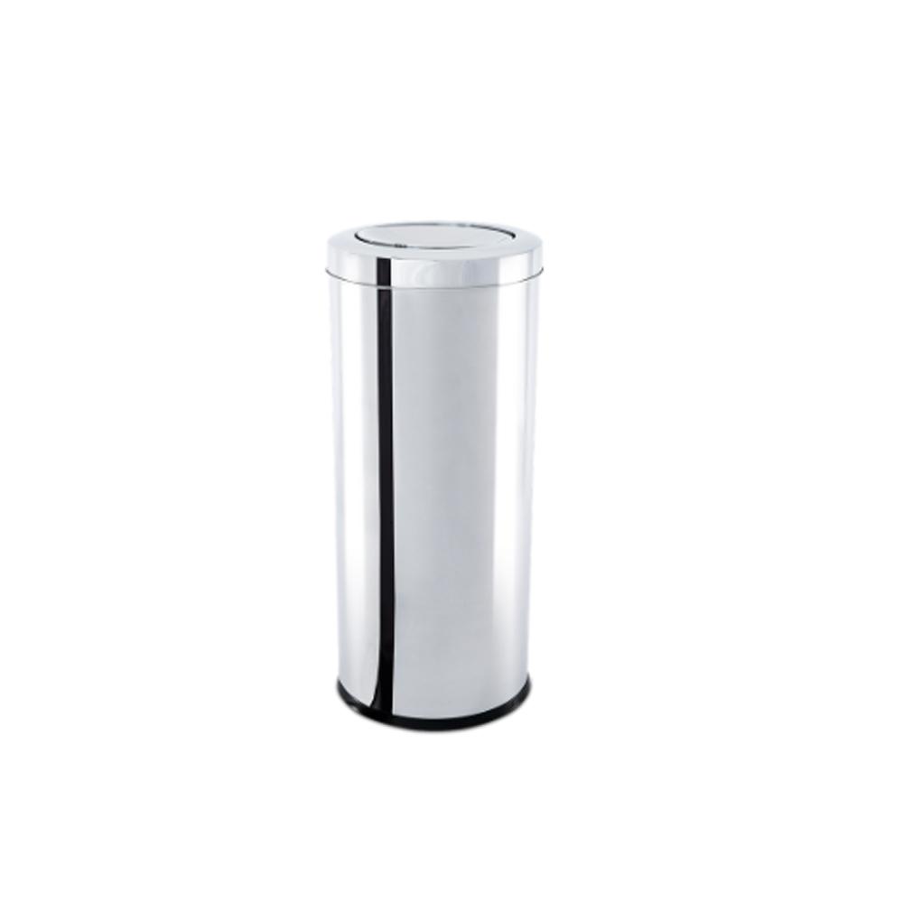 Lixeira Inox com Tampa Basculante 40,5 Litros - Decorline Lixeiras Ø 30 x 60 cm - Brinox