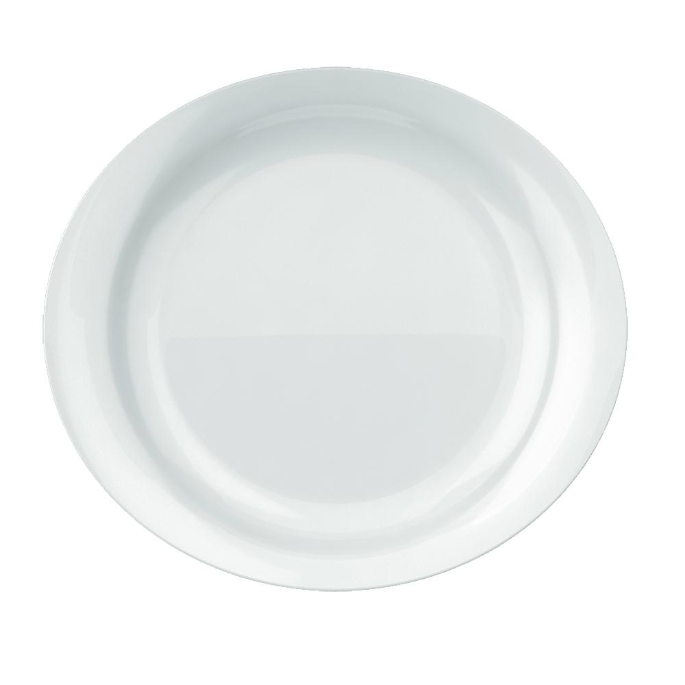 Prato Raso Churrasco Grande Oval Steak 30X27 cm Branco Cx 12 pçs Nadir Figueiredo 5547