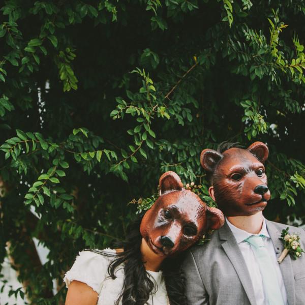 Rustic Bear-Themed San Diego Garden Wedding