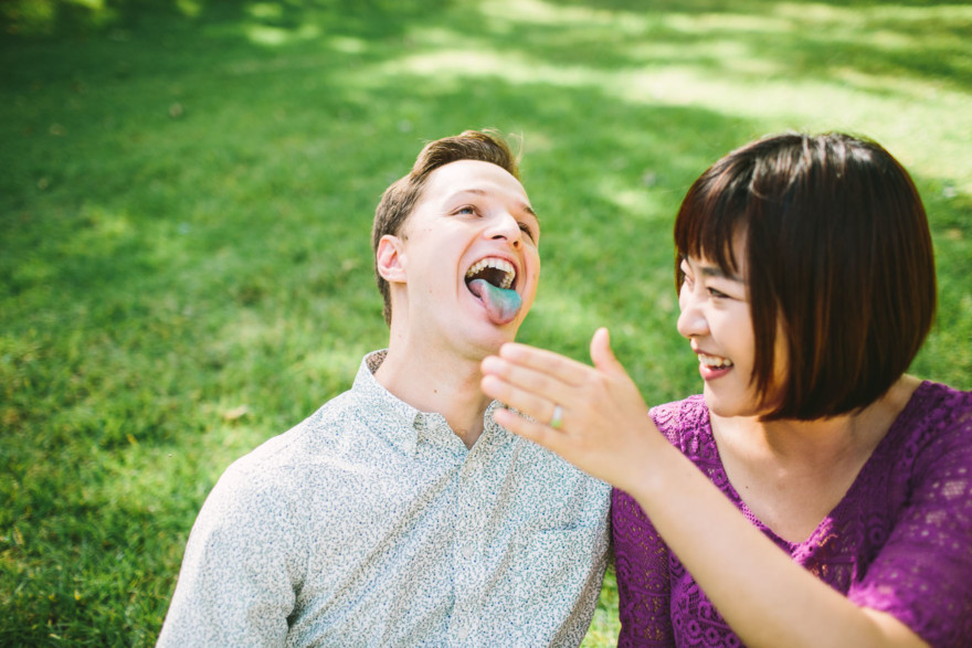 Blue tongues from ice cream - Sewon & Taurin's Griffith Park Engagement by Let's Frolic Together