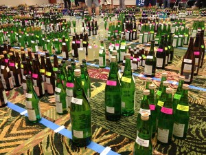 Prep for Joy of Sake, last Friday. 12 bottles each of 384 sakes are unpacked and sorted for different destinations: Judging in Honolulu, followed by Honolulu Joy, then New York City, etc.