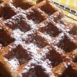WOW WOW WAFFLE: 1-Year White waffle with coconut cream cheese, Tropical Treat waffle (apple banana, real whip, mac nuts), Belgian Torpedo waffle (chocolate and strawberry), Huli Chicken maple syrup waffle, Street Waffle, lilikoi lemonade