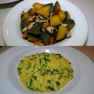 Then: Kabocha with rbi in shoyu sugar. Now: Roasted kabocha risotto.