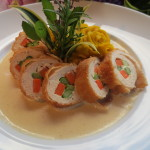 Island Chicken Roulade with Roasted Leek Gravy and Mashed Kabocha Pumpkin