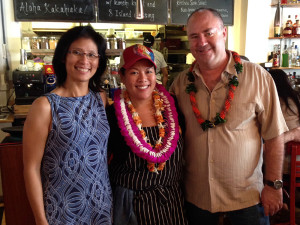 The people behind Koko Head Cafe: Chef Lee Anne Wong (center), with owners Kevin Haney and Denise Luke, who also own 12th Avenue Grill. — Photo by Diane Seo