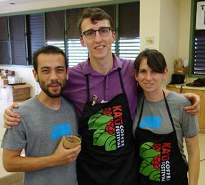 Some of Honolulu's best coffee geeks in Ka'u last weekend: Patrick Ouye, James McGillan Overman, and Juli Burden.
