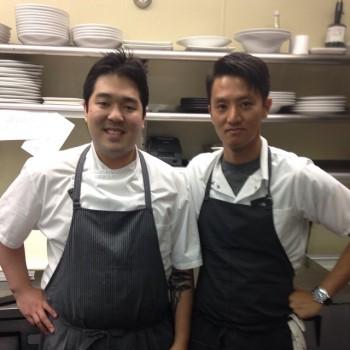 Chef Yang (right) with Chris Kajioka. Photo courtesy of @antemeridian