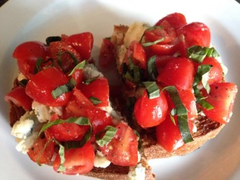 Bruschetta with bleu cheese.