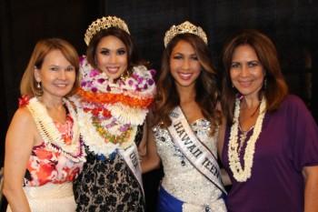 Kitty Wo (mother of Emma), Emma Wo - 2015 Miss Hawaii USA, Kyla Hee - 2015 Miss Hawaii Teen USA, and Luana Alapa (former Miss Hawaii and mother Kyla)