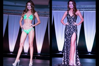 Emma Wo during the swimsuit and evening gown competitions.