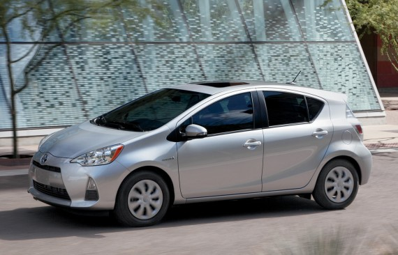 The Prius c model, similar to what I bought. The weather has been so bad since I got the car that I wasn't able to take a nice photo of it yet.