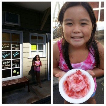 My sorority sister Lisa Sawamura Meyer posted a shot of her daughter Haley with Lemona's strawberry.