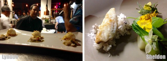 Expected to be the third and final course - Lyndon stepped up with a pan seared fish accompanied with fresh made ice cream and Sheldon created a simple seared fish with fresh rice and blossoms.