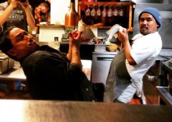 Chef Lyndon Honda and Chef Sheldon Simeon getting ready for their #KnifeFight tilapia battle