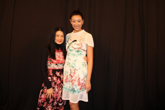 Vivienne Tam and Karen Hu, Miss China 2014 backstage before the show.