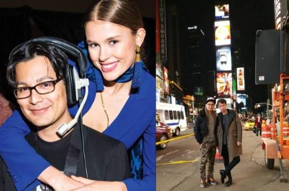 Roman with local-girl-turned-international-model Keke Lindgard (photo by Eli Schmidt.); with Wilhelmina agent Benjamin Yang.