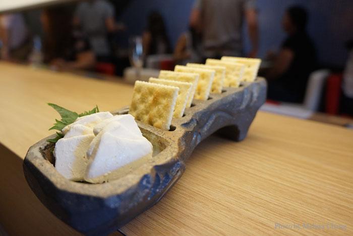 Crackers with cream cheese miso paste, $5.