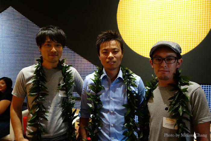 IKKA Dining Project President Taro Takenaga (center) with Executive Vice President Shunta Fukui and manager Masahiro Isoda.