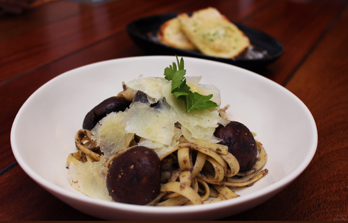 The fettuccini funghi ($16) is made with a duxelles of button and portobello mushrooms, butter, garlic, onions, port, sauteed crimini mushrooms and shaved parmesan.