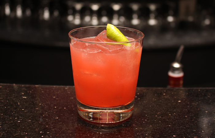 The Firerock ($7 happy hour $11) is similar to an alcoholic pink grapefruit drink. Her take on a gin sour, she uses strawberries to bring a little bit of sweetness to a drink that makes you pucker.