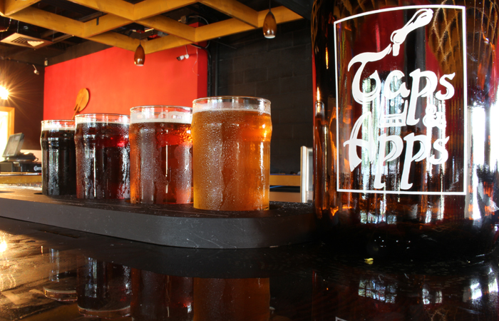 Beer flights are four 4-ounce pours for $12 to $16.