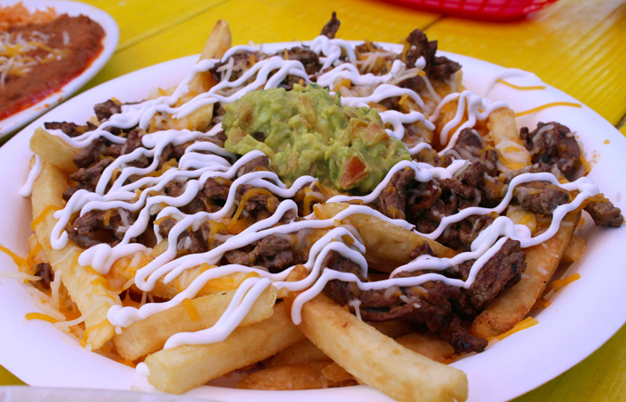 One of my new favorite dishes is the asada fries ($12). Loaded with grilled steak, sour cream, cheese and guacamole, this is perfect for a table of three or four to share.