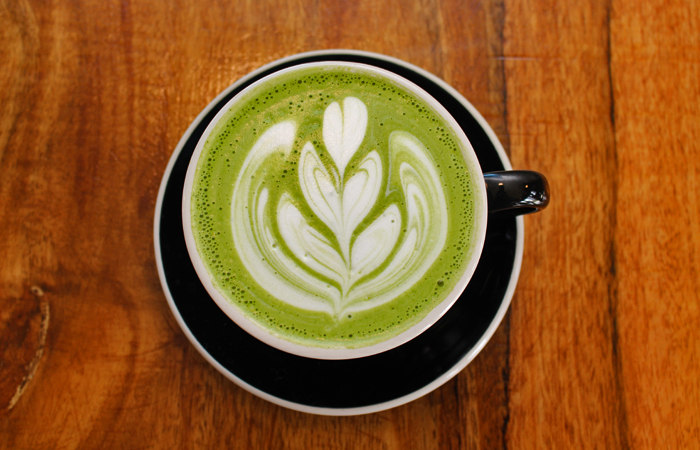 The matcha latte ($3.75) is light and foamy with a bright green tea flavor.