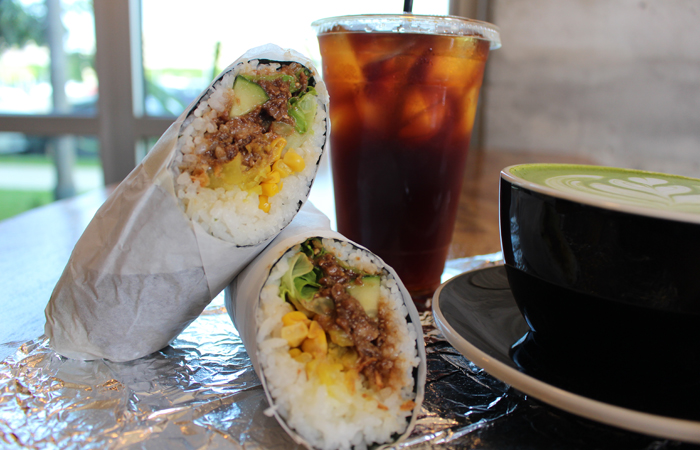We ordered the pork miso roll ($8.25) with cucumber, sweet corn, takuan, ginger dressing, lettuce and fried onions. The ingredients are wrapped neatly in nori and make for an easy handheld meal for those on the go. Think Chipotle for sushi rolls.