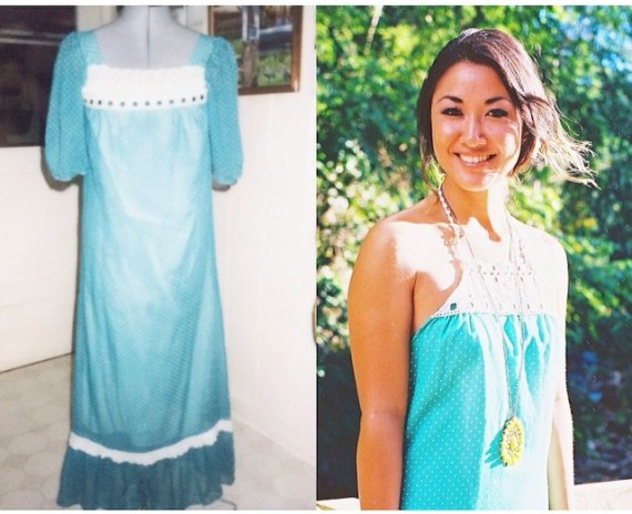 Love at Dawn transformation – before and after. One-of-a-kind vintage sea mint mu'umu'u with white polka dots, eyelet detail around the neckline & hemline halter with low back size medium ($85). Designer Angela Matsuo.