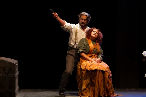Peter Kendall Clark and Buffy Baggott as Sweeney Todd & Mrs. Lovett. Photo by Thee Photo Ninja.