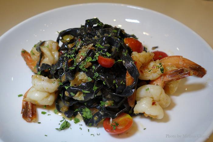 Shrimp peperroncino with squid ink pasta, $16.95.