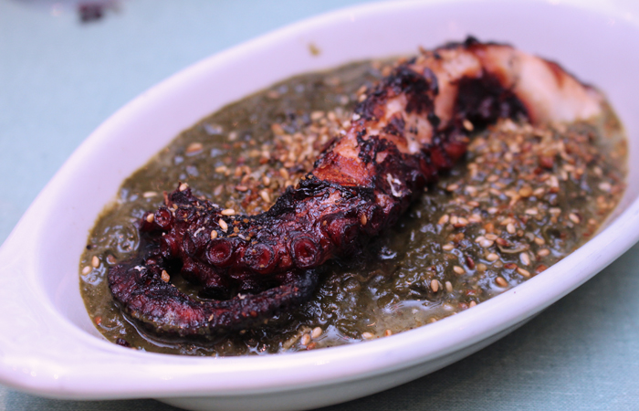 I still remember the tender octopus roll I had at Kaimuki Superette the week they opened. The octopus here is the grilled he'e and luau ($16) lives up to that: ultra tender and full of flavor, it melts in your mouth.