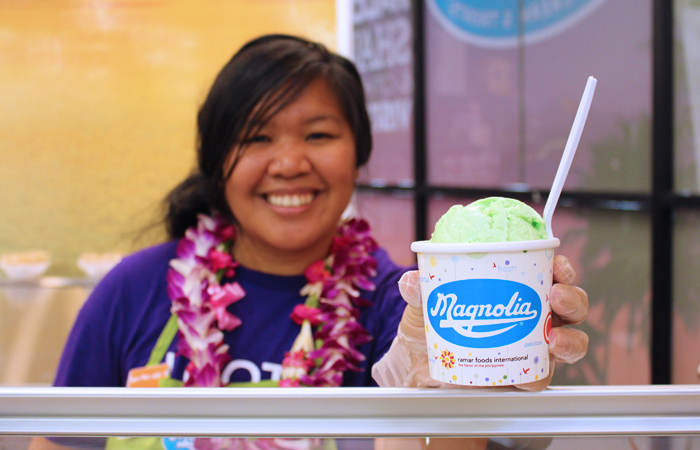 Service with a smile! $2.99 for a single scoop, $4.99 for a double. We got the langka (jackfruit) and buko pandan, a creamy, almost vanilla-like herb with young coconut chunks. I'd definitely order the pandan again for its signature flavor that is hard to find in Hawaii.