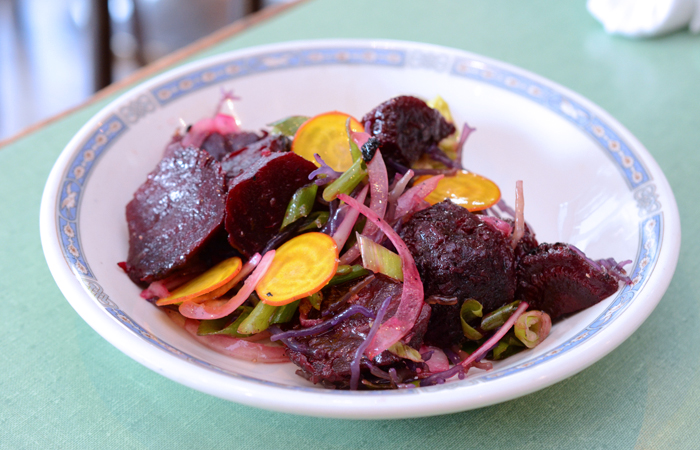I love any dish with ogo and the beets ($10) with macadamia nuts, sesame seeds, avocado and ogo are delicious. At first glance you wouldn't think the salty crunch from ogo would pair well with the earthiness of the beets but it works in every way. Photo by Thomas Obungen