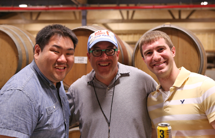 Hot Doug's Doug Sohn (center) with one of his biggest fanboys (me).