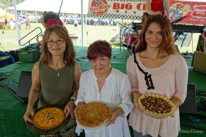 The Hawaii State Farm Fair pie recipe finalists, from left: Pamela Jinnohara, Cynthia Murakami Pratt, and Allisen Fong.