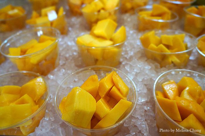 Refreshing cups of Makaha mangoes for $5 at Mangoes at the Moana.