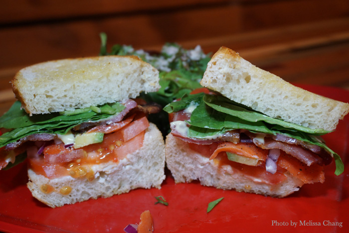 The smoked salmon and bacon sandwich at HiBlend, $11.95.