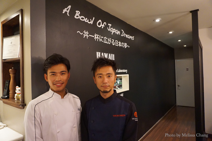 From left, Tsurumen manager Masa Miyazaki and owner/chef Masuo Onishi.