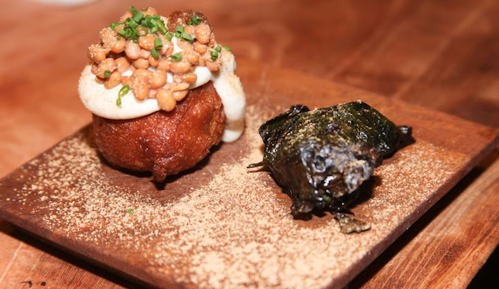 Natto beignet with parmesan and pickled date, and bo la lot of garlicky natto beef rolled in betel leaf and grilled
