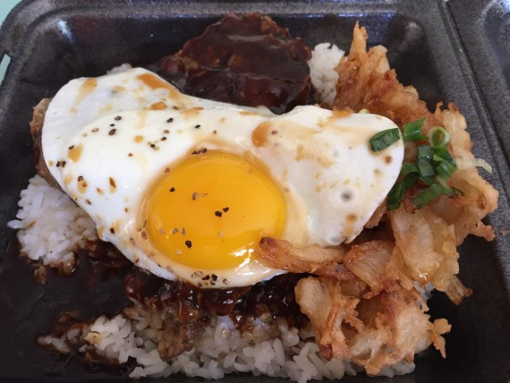 HI Steaks - #5 Combo, Top Sirloin ground steak loco moco with a 24 oz drink.